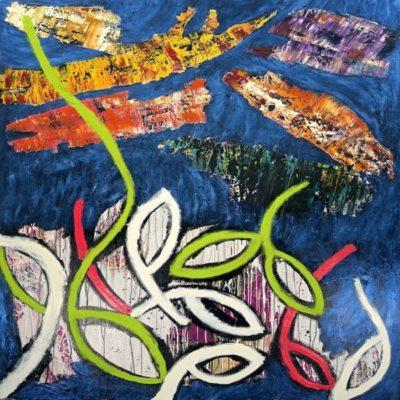 Artsy kimonos decorated with contemporary art-Arena Martinez-Serendipity Blue Habana-2