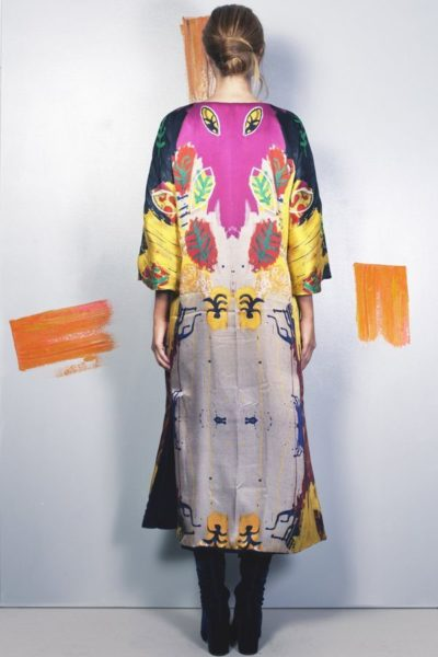 Artsy kimonos decorated with contemporary art-Arena Martinez-Serendipity Raining Yellow-1