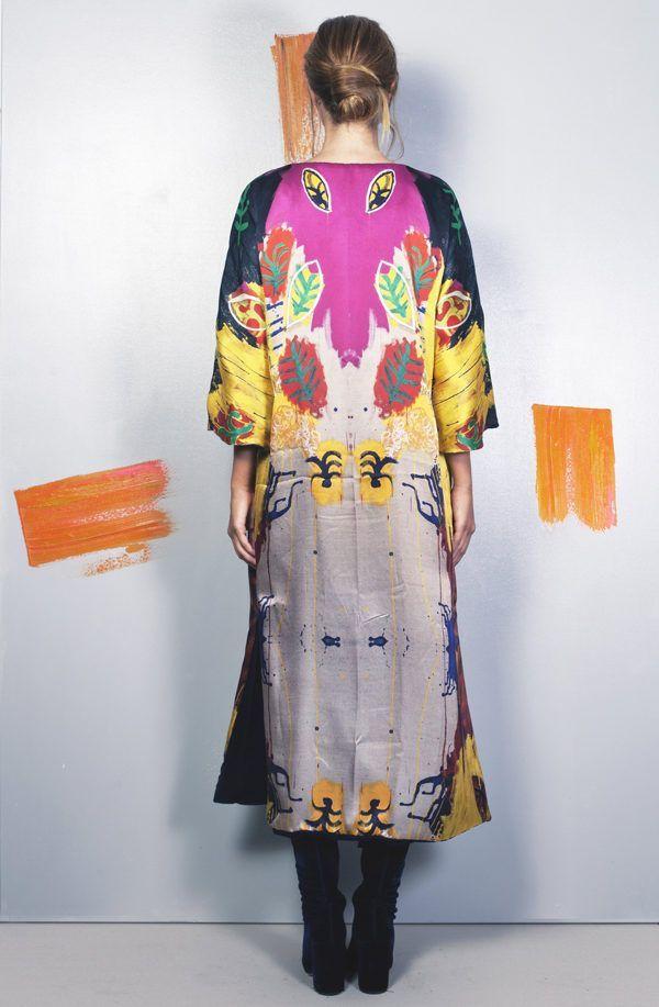 Artsy kimonos decorated with contemporary art-Arena Martinez-Serendipity Raining Yellow-1