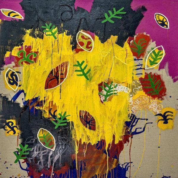Artsy kimonos decorated with contemporary art-Arena Martinez-Serendipity Raining Yellow-4