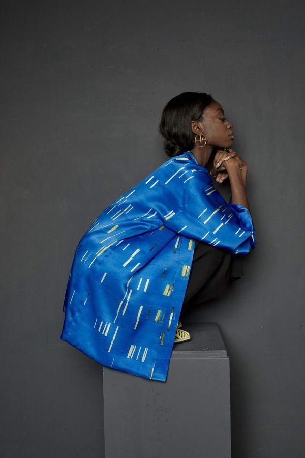 Artsy Kimono contemporary art - Arena Martínez - baby blue short - 1