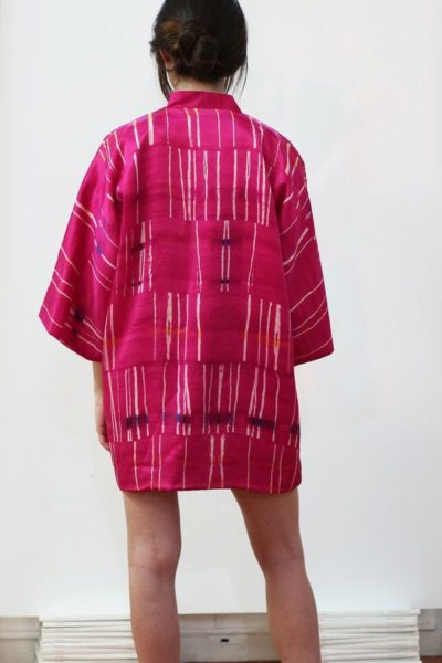 Kimono decorated with contemporary art - Arena Martínez - kimono pink crush short -5