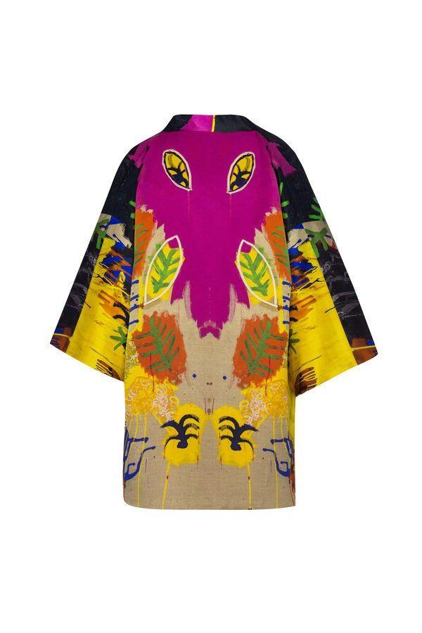 Kimono decorated with contemporary art - Arena Martínez - kimono Rainy Yellow -1