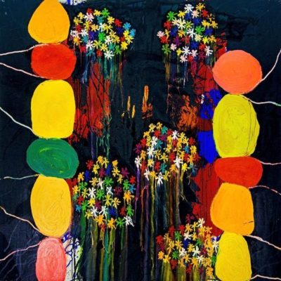 Artsy kimonos decorated with contemporary art-Arena Martinez-Serendipity Serendepity stars cape-4
