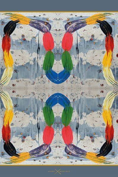 Pañuelos decorados con arte contemporáneo - Arena Martínez - Camisa inspirada en la obra de Papartus - Pañuelo Footprint