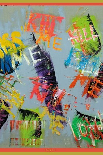 Pañuelos decorados con arte contemporáneo - Arena Martínez - Camisa inspirada en la obra de Papartus - Pañuelo Kiss me, love me