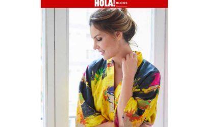 Mar Flores con nuestro kimono Rainy Yellow en Hola blog