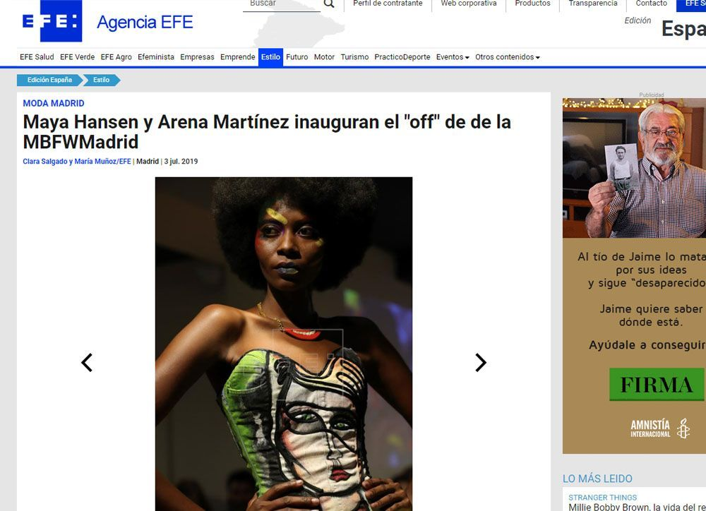 Contemporary art and fashion online store in Madrid - Spain - Arena Martínez - MBFWM - 2020 - Agencia Efe