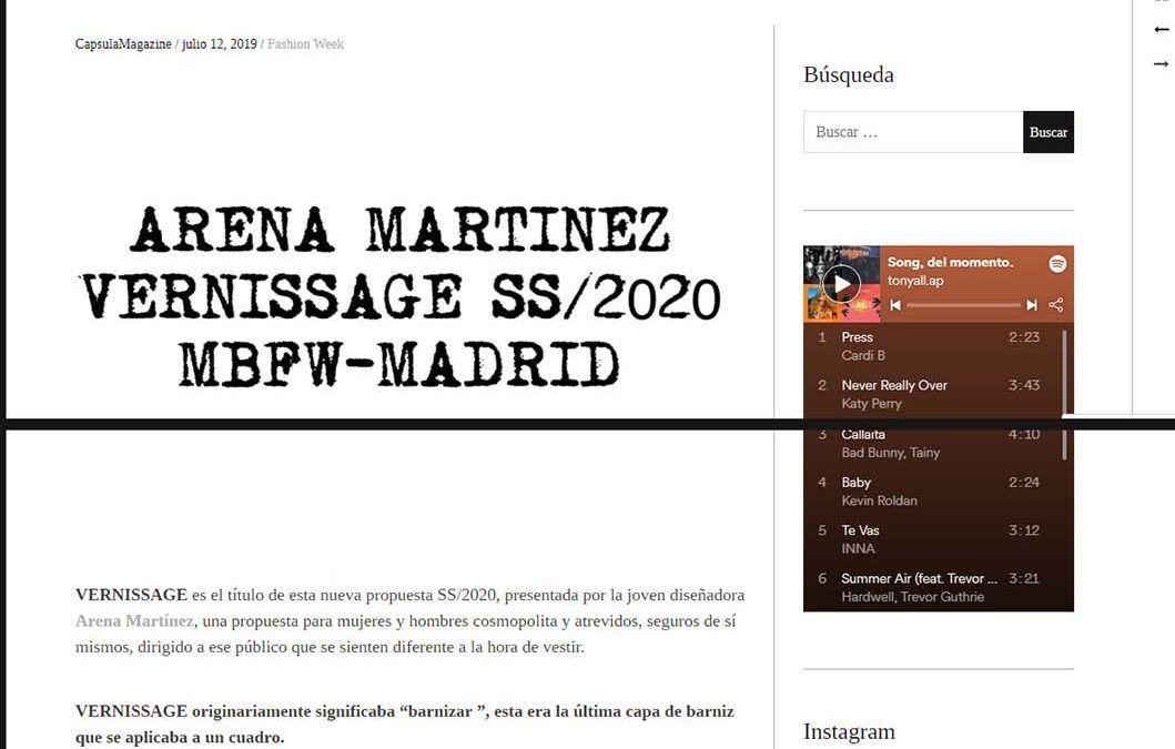 capsulamagazine.com Arena Martínez Vernissage SS/2020 MBFW-MADRID