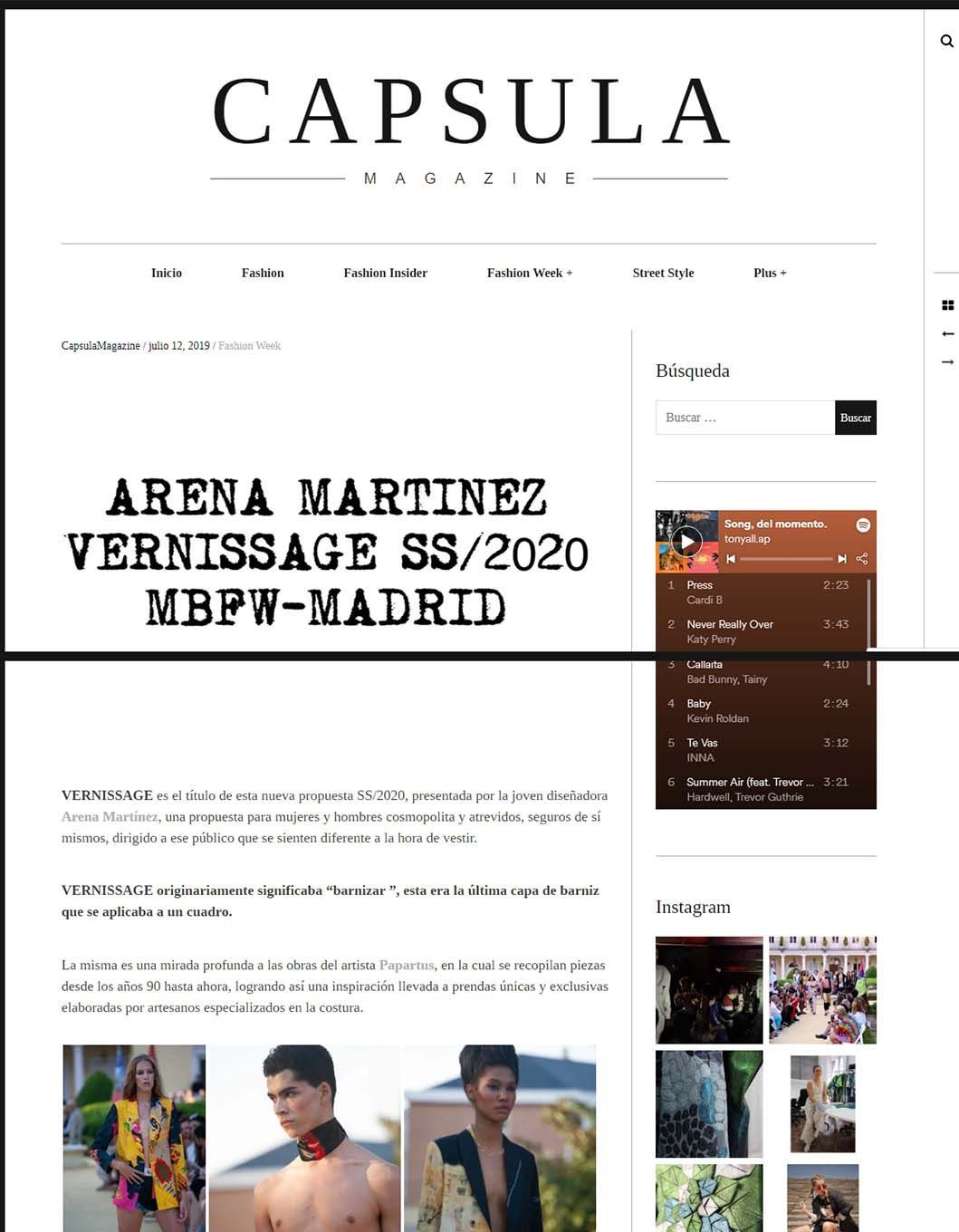Contemporary art and fashion online store in Madrid - Spain - Arena Martínez - MBFWM - 2020 - Capsula