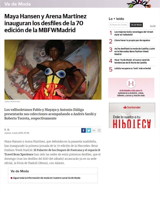 Contemporary art and fashion online store in Madrid - Spain - Arena Martínez - MBFWM - 2020 - Diario de Castilla