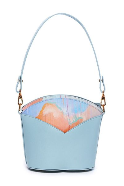 Exclusive leather bags decorated with art - Arena Martínez - Blue Sky Susi Bag-2