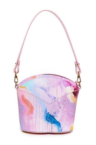 Exclusive leather bags decorated with art - Arena Martínez - Pink Candycruch Susi Bag